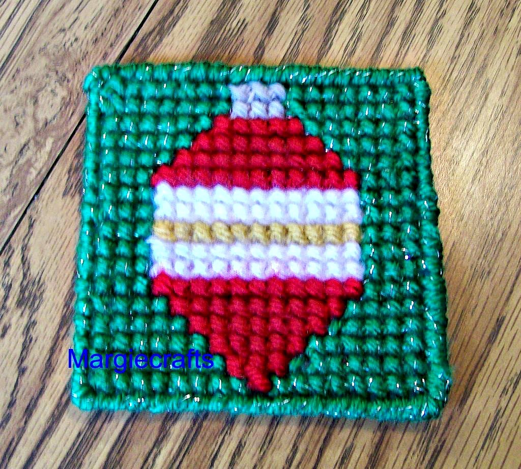 Christmas Coasters, Plastic Canvas, Handmade, Cross Stitch, Square Coasters