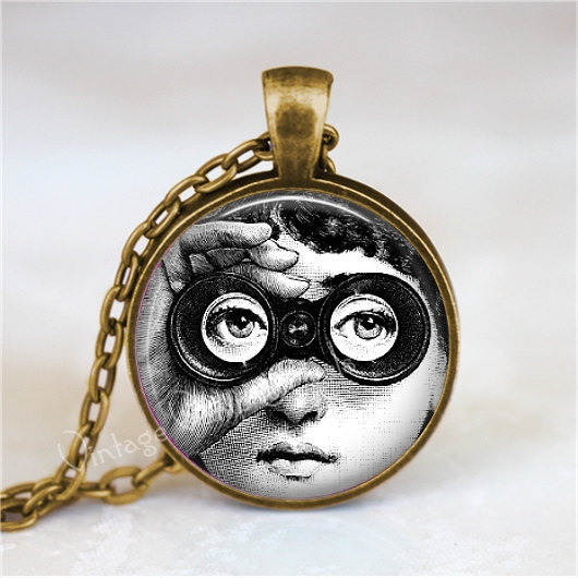 FORNASETTI FACE Necklace, Woman with Binoculars, Fornasetti Jewelry, Fornasetti