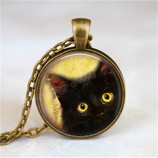 Peeping Tom Cat Necklace, Peeking Cat, Kitten, Cat Jewelry, Cat Pendant, Cat Cha