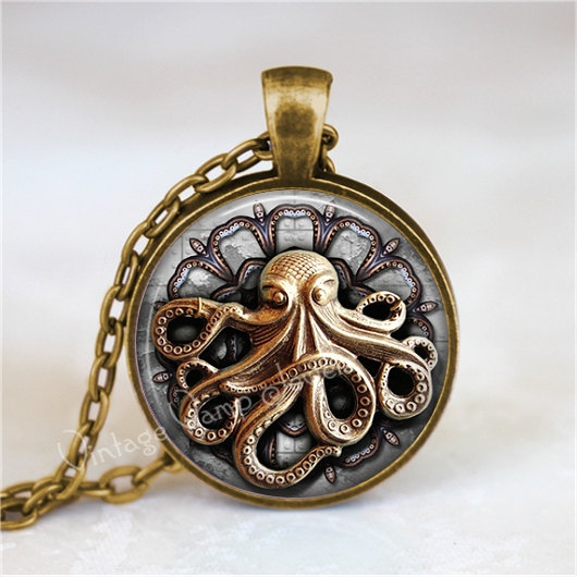 STEAMPUNK OCTOPUS Necklace, Octopus Necklace, Octopus Jewelry, Steampunk Necklac