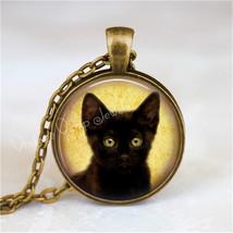 BLACK CAT Necklace, Peeking Cat, Kitten, Cat Jewelry, Cat Pendant, Cat C... - €11,38 EUR