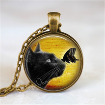 BLACK CAT Necklace, Cat and Butterfly, Kitten, Cat Jewelry, Cat Pendant,... - $12.95