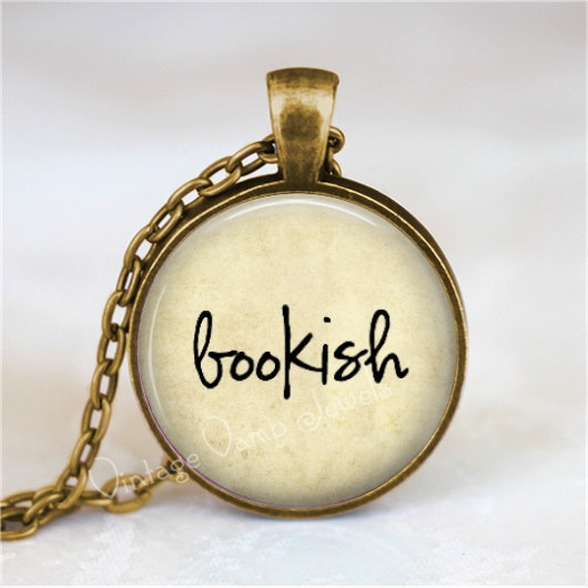 BOOKISH Necklace, Book Lover, Book Nerd, Library, Librarian, Book Jewelry, Book