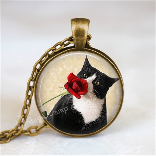 TUXEDO CAT Necklace, Rose, Peeking Cat, Kitten, Cat Jewelry, Cat Pendant, Cat Ch