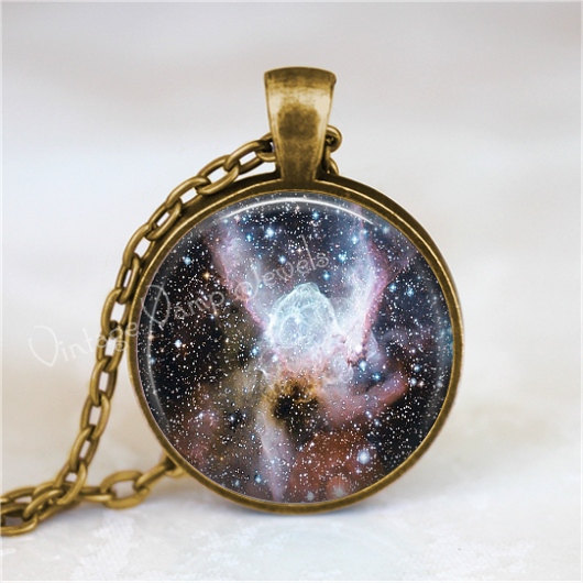 NEBULA Necklace, Nebula Pendant, Thors Helmet Nebula, Outer Space, Galaxy, Plane
