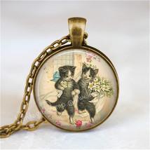 CAT WEDDING Necklace, Bride and Groom, Kitten, Cat Jewelry, Cat Pendant,... - $12.95