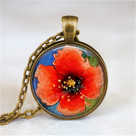 POPPY Necklace,  Poppy Flower Necklace, Poppy  Jewelry, Poppies, Watercolor, Flo