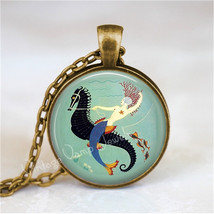 ART DECO MERMAID and Seahorse Necklace, Mermaid Jewelry, Mermaid Pendant... - $12.95