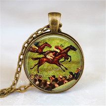 HORSE RACING Necklace, Horse Pendant, Horse Race Jewelry, Horse Charm, H... - $12.95