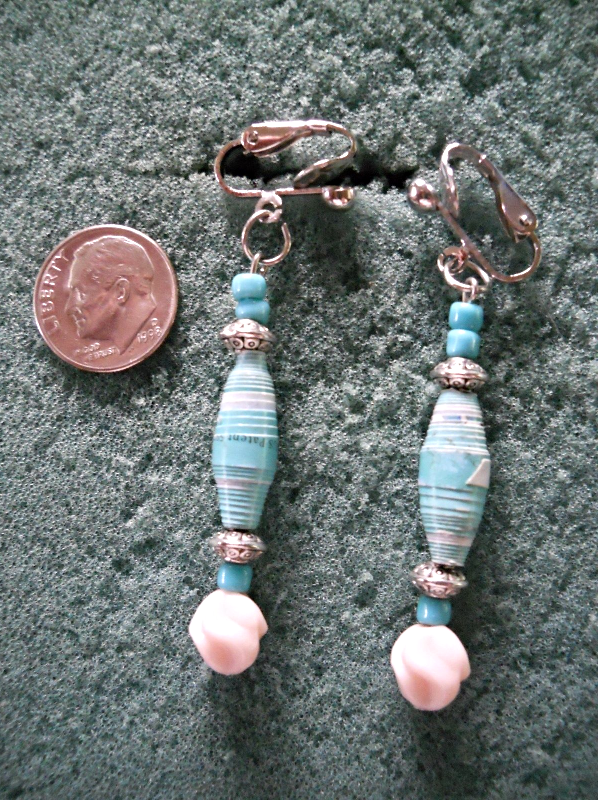 """25"""" Paper Beaded Necklace and Pierced Earrings Set - 3 Strands"""
