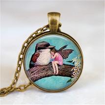 FAIRY and BIRD Necklace, Fairy Jewelry, Fairy Pendant, Fairy Charm, Glas... - $12.95