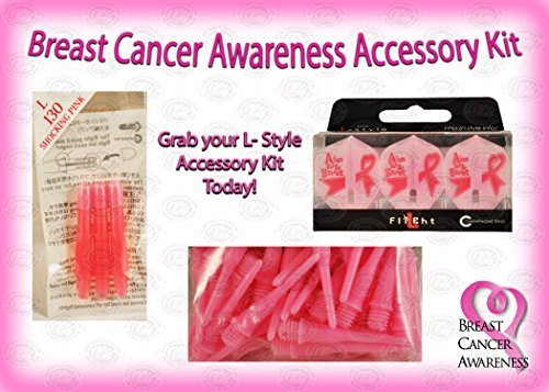 Pink Breast Cancer Awareness Dart Accessory Kit - L- Style Shafts, Tips and L...
