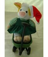 Mary Moo Moo Deere Girl in Christmas Cap w/Wagon - $30.00