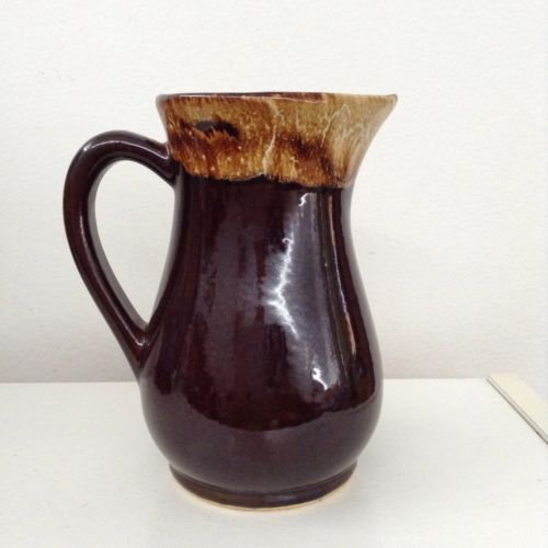 Vintage R.R.P.Co. Roseville Brown Drip Glaze Gravy Pitcher Pottery
