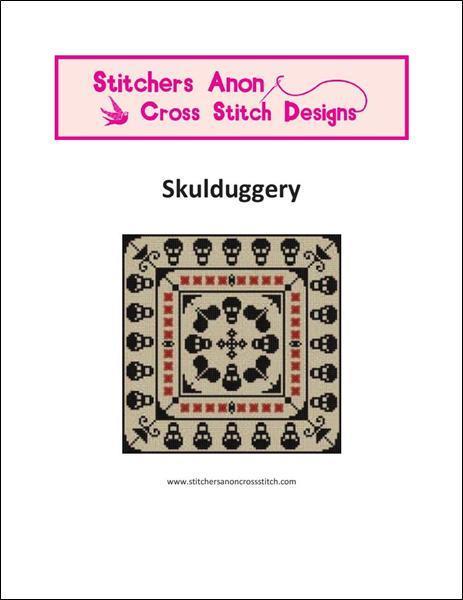 Skullduggery halloween cross stitch chart Stitchers Anon Designs