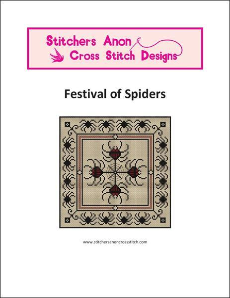 Festival of Spiders halloween cross stitch chart Stitchers Anon Designs