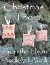 Christmas Trio ornaments cross stitch chart From The Heart  - $5.00