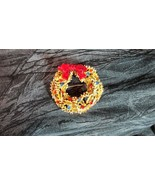 Christmas Enamel on Metal Wreath with Blue, Red & Gold Rhinestones, Sign... - $16.82