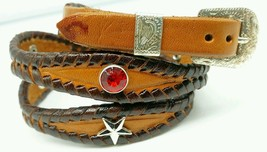 NEW HATBAND Scalloped Braided BROWN Leather w/ RED CRYSTAL & SILVER STAR CONCHOS - $21.71