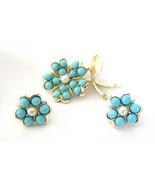 Sarah Coventry Brooch and Earrings Aqua Fleur F... - $24.00
