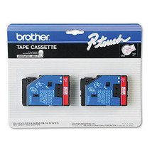 Brother P-Touch TC Tape Cartridges, 1/2w, Red on Clear, 2/Pk - BRTTC11 - $38.95