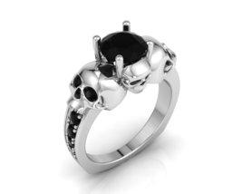 Skull Engagement Ring Black Diamond - $890.00