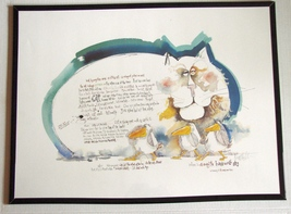 Large 1977 Signed Nedobeck Cat Watercolor Lithograph UNFRAMED - $72.00