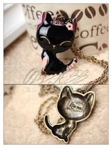 Black Enamel Kitty Cat Kitten Animal Pink Flower Kiss Me 26 in Pendant N... - $4.99