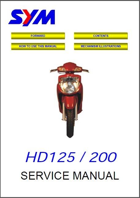SYM HD 125 / 200 Scooter Service Repair Manual CD  - Sanyang HD125 HD200