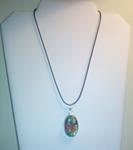 Multi Color Dichroic Glass Pendant On Black Cord - $14.99