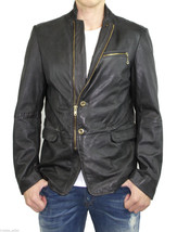 Diesel L-Momor Men's Black Grey Sheepskin Leather Padded Blazer Jacket C... - $499.99