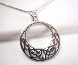Round Celtic Pendant Circle in Circle 925 Sterling Silver Corona Sun Jew... - €7,26 EUR