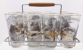 Vintage Set White Black Gold Trim Winter Farm Ranch Sleigh Ride Glasses ... - $34.65