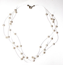 """16"""" Sterling Silver Clasp Invisable Floating Genuine Fresh Water Pearl Necklace - $32.00"""