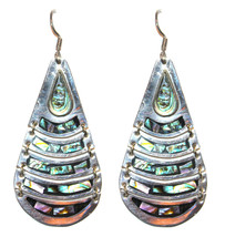 "3"" 925 Sterling Silver Mother of Pearl Abalone Shell Teardrop Dangle Ear... - $112.00"