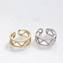 Sterling Pure Silver Yellow/ White Gold Plated ADJUSTABLE Midi Knuckle Ring - £18.05 GBP
