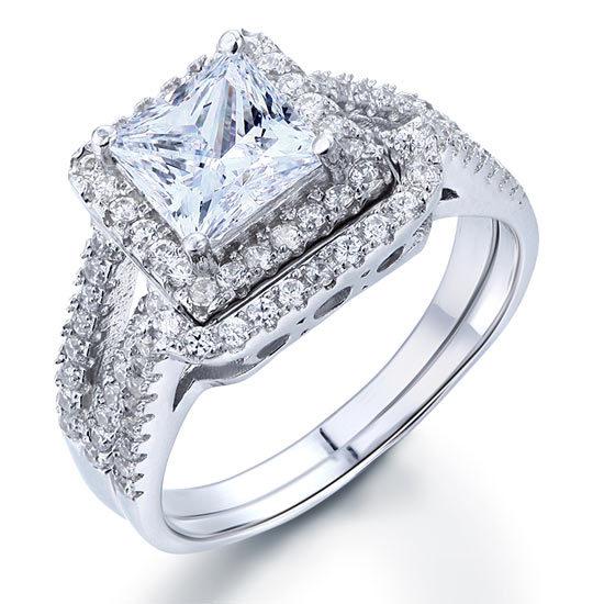 1.5 Carat Princess Created Diamond 925 Sterling Silver Engagement Ring Set