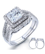 1.5 Carat Princess Created Diamond 925 Sterling Silver Engagement Ring Set - $129.99