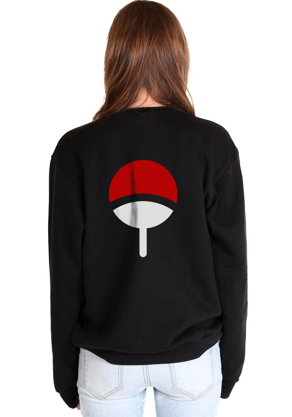 Uchiha Clan Symbol on back Naruto Unisex Crewneck Sweatshirt BLACK