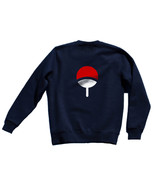 Uchiha Clan Symbol on back Naruto Unisex Crewneck Sweatshirt NAVY BLUE - $30.00+