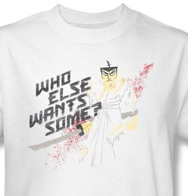 Samurai Jack Who Wants Some T shirt cotton cartoon network graphic tee CN278