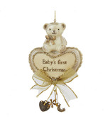 Baby's First Christmas Ornament Bear and Heart By Kurt Adler-Holiday! - $14.79