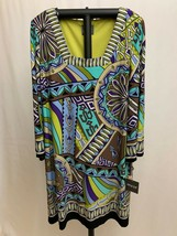 Muse Women's Fully Lined Dress, Green Multi Tone, Stretch, Size 14, NWT ... - $48.00