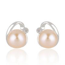 Pink Pearl Gemstone Beautiful 925 Fine Silver Cute Stud Earrings Jewelry - $20.79