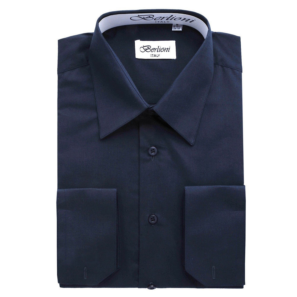 BERLIONI MEN'S CONVERTIBLE CUFF SOLID DRESS SHIRT-NAVY-5XL sleeve 38/39