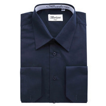 BERLIONI MEN'S CONVERTIBLE CUFF SOLID DRESS SHIRT-NAVY-5XL sleeve 38/39 - €13,67 EUR