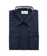 BERLIONI MEN'S CONVERTIBLE CUFF SOLID DRESS SHIRT-NAVY-5XL sleeve 38/39 - £12.59 GBP