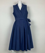 Anne Klein Dress Blue Chambray Wrap Fit Flare Belt Sleeveless Sz 6 NEW NWT - $49.99