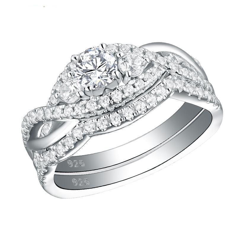 Ewshe solid 925 sterling silver classic wedding rings for women round cut aaa cz engagement ring