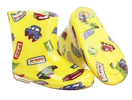 Cute Starry Kids' Rain Boots Yellow Car Children Rainy Days Shoes 20CM